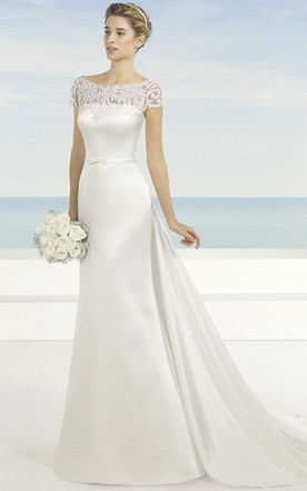 Boat Style Neckline Wedding Dresses with Lace, Lace Bateau Neck ...
