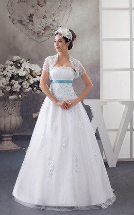 Strapless Tulle A Line Dress With Appliques And Bolero