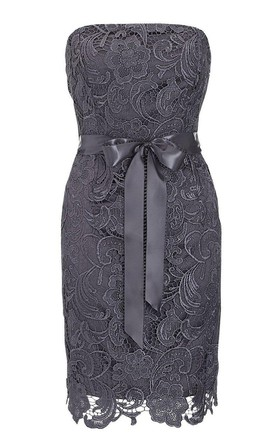 Strapless Lace Sheath Dress With Bow Tie