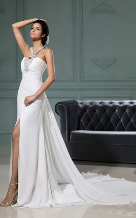 Straps Chiffion Crisscross Slited Gown With Crystal Detailing Detailing
