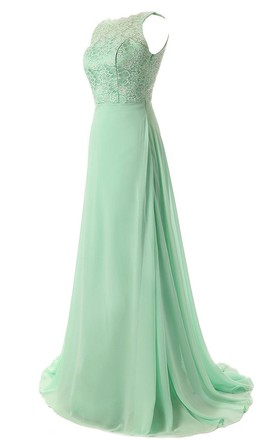 Sleeveless Lace Appliqued Bodice Long Layered Chiffon Dress