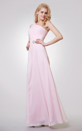 One Shoulder A-line Long Ruched Chiffon Dress