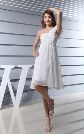 Lovely One-Shoulder Chiffon A-Line Dress With Empire Waist