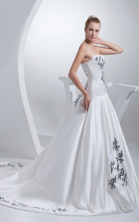 Strapless Embroidered Satin Ball Gown with Ruching and Court Train