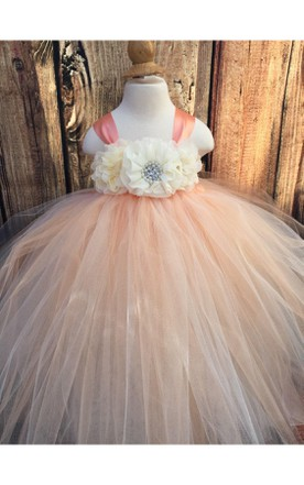 Peach and Ivory Sleeveless Rose Flower Bust Tulle Dress With Pleats