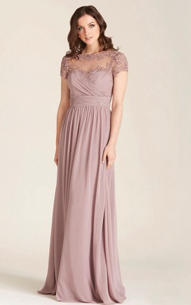 8b75c90f6c2 Appliqued Bateau Neck Illusion Sleeve Chiffon Bridesmaid Dress ...