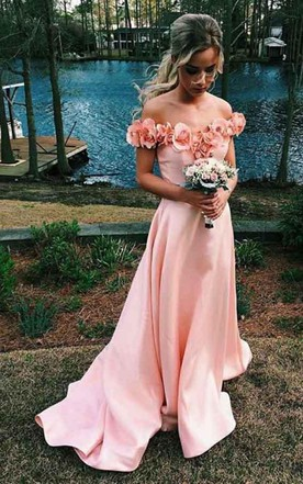 9d399fe42af1b Off-the-shoulder Sweep Train Satin Sleeves Prom Dress with Flowers