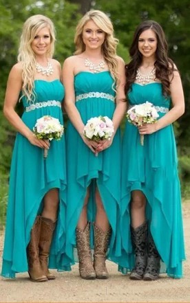 a2092d3964e A-line Sweetheart Sleeveless High-low Chiffon Bridesmaid Dress with Ruching  and Tiers ...
