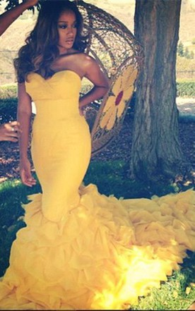 Gorgeous Sweetheart Yellow 2016 Prom Dresses Mermaid With Train
