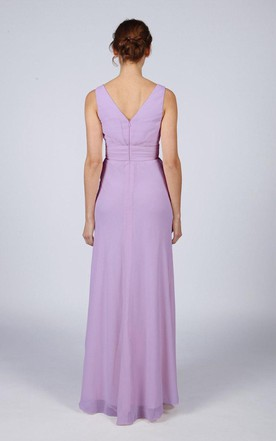 Lilac Classic Long Bridesmaid Prom Dress