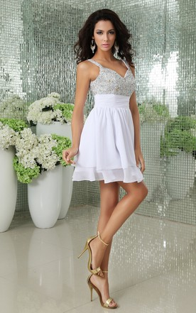 Soft Flowing Fabric Short V-Neck Dress With Draping And Crystal Detailing