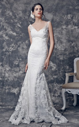 Sexy V-neck Tulle and Satin Gown With Illusion Straps and Appliqued Lace