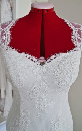 Custom Knee Length Wedding Dress With Queen Anne Neck and Scalloped Keyhole Back