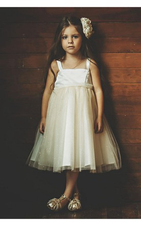 Sleeveless Pleated Gold Satin and Tulle Flower Girl Dress