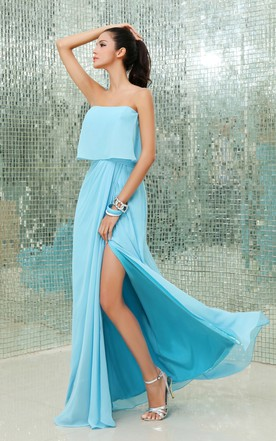 Charming Chiffon Pleated Split Modern Strapless Front Gown