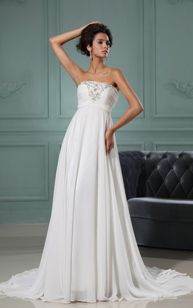 A-Line Strapless Gown With Lace And Ruching Bodice