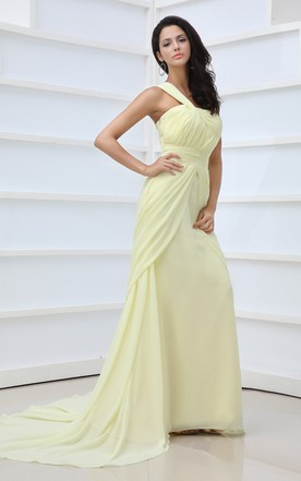 Vintage Asymmetrical One-Shoulder Gown With Slit
