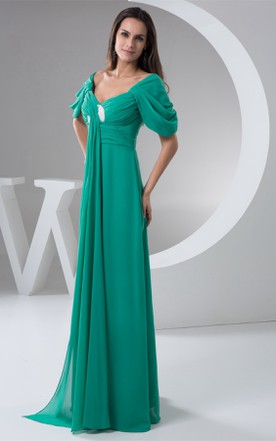 Short-Sleeve Chiffon Criss-Cross Dress with Pleats and Draping