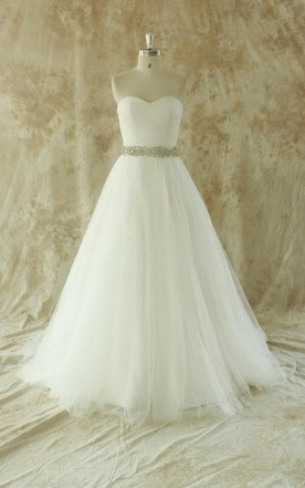 Romantic Ivory A Line Wedding Dress With Beading Sash ...