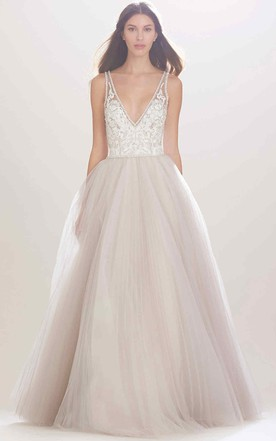 ddfe3b7e84 A-Line Sleeveless Appliqued V-Neck Tulle Wedding Dress With Beading And  Illusion ...