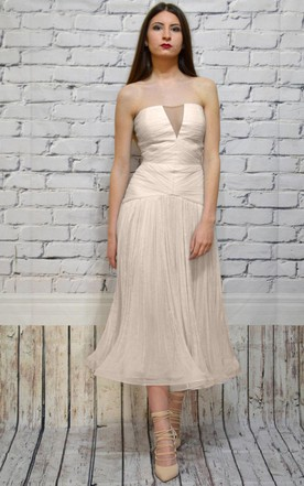 Strapless Tea-Length Dress With Ruching And Zipper Back
