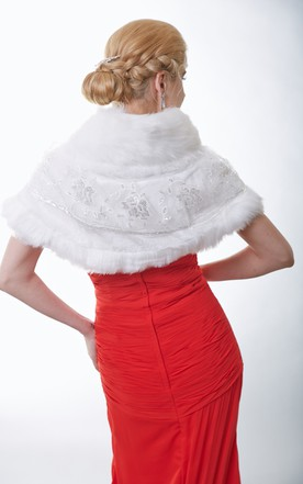 Faux Fur Bridal Cape With Sequins And Straps