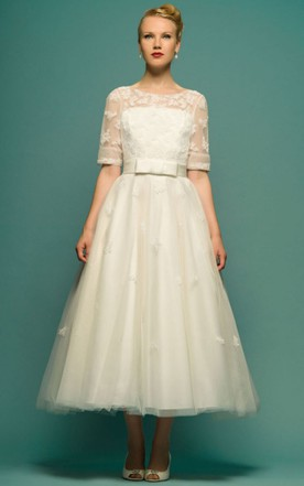 80s wedding dress on sale vintage wedding dresses june bridals a line tea length scoop neck half sleeve appliqued tulle wedding dress junglespirit Choice Image