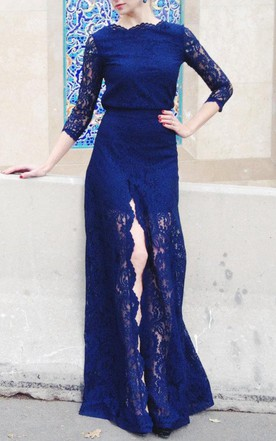 Maxi Navy Lace With Slit Dress