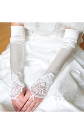 Plus Long Stretch Satin Embroidered Beads Exposed Finger Gloves