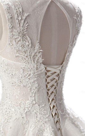Lace Weddig Dress With Beading Lace-Up Back