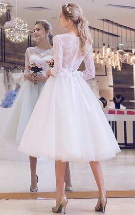7515f8fb074 ... Long Sleeve Jewel Neck Pleated Tea Length Lace Dress