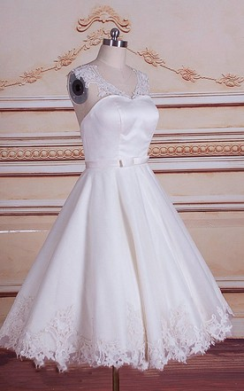 A Line Mini Tea Length Tulle Lace Satin Weddig Dress ...