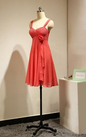 Short Coral Bridesmaid Dress Chiffon With Flower