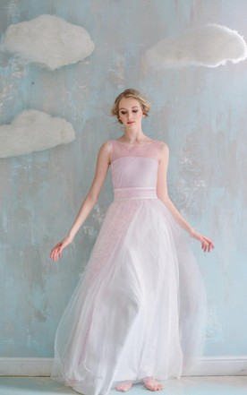 A Line Maxi Tulle Weddig Dress With Sash Ribbon