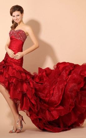 Ruffled High-Low Taffeta Dress With Court Train And Beaded Top
