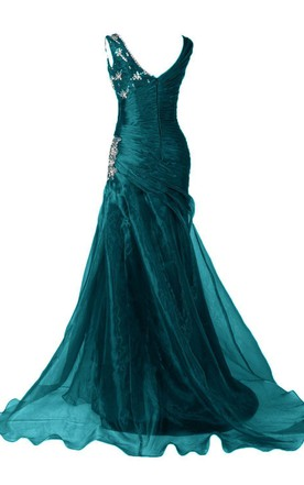 V-neck Mermaid Gown With Ruching and Sequins