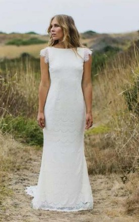 e96478b8216 Bohemia Country Cap Sleeves Sexy Backless Lace Mermaid Wedding Dress ...