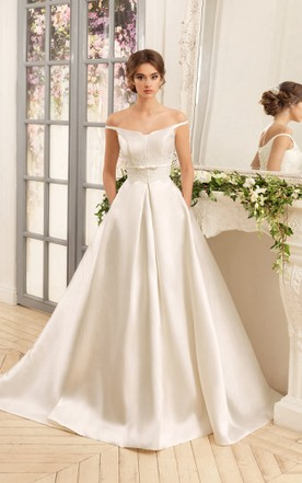 592a92788a0 A-Line Floor-Length Off-The-Shoulder Lace-Up Satin Dress ...
