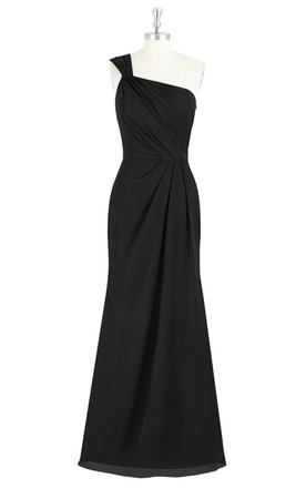 One-Shoulder A-Line Long Chiffon Dress With Ruching