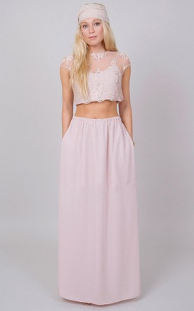 Two Piece Chiffon Dress With Lace Illusion Top