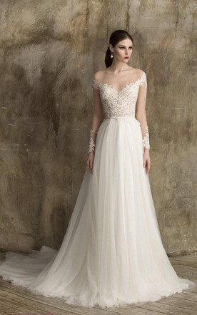 Long sleeved wedding gowns bridals dress with sleeves june bridals v neck a line tulle wedding dress with lace bodice junglespirit Choice Image