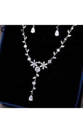 Korean Simple Temperament Super Shiny Luxury Natural Zircon Leaves Bridal Necklace Three Sets