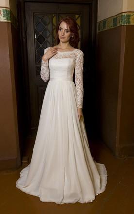 Bateau Neck Long Sleeve Chiffon Wedding Dress With V Back Cutout