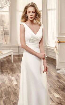 d3216112d7d ... Cap-Sleeve Low-V Neckline chiffon Wedding Dress With Brush Train