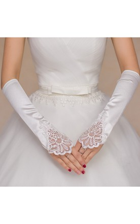 White Stretch Satin Hook Gloves
