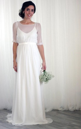 Vintage Inspired Chiffon Long Wedding Dress With Half Sleeves