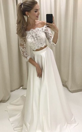 Wedding gowns with sleeves sleeved bridal dresses june bridals two piece off the shoulder sleeves satin wedding dress with lace wedding dresses junglespirit Gallery