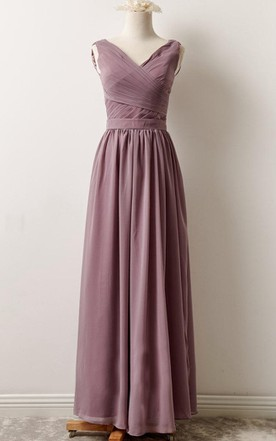 Short Long V-neck Chiffon Dress