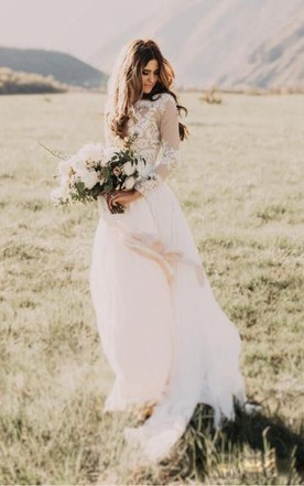 2019 New Informal Chiffon Lace Beach Wedding Dresses With Corset Lace Up Back Boho Maxi Country Reception Bridal Gowns Custom Weddings & Events