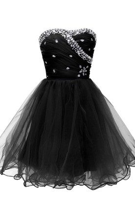Strapless A-line Dress With Rhinestone Bodice